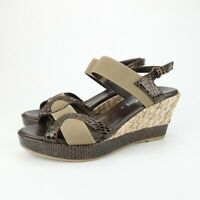 AQUATALIA Womens Brown Taupe Snake Leather Ankle Strap Wedge Sandals Size 9