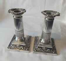 More details for pair of corinthian sterling silver dwarf column candlesticks sheffield 1897