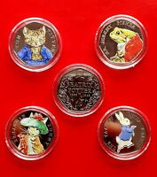 Beatrix Potter Peter Rabbit 50p Coins Uncirculated Coloured coin 2017 set