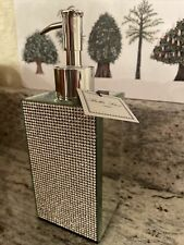 NWT BELLA LUX Liquid Pump Soap Dispenser Rhinestone & Mirror