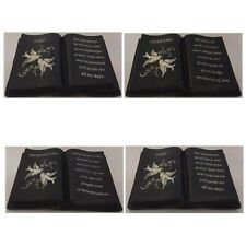 Slate Grey Memorial Book Dove & Diamante Detail Grave Plaque Ornament Tribute