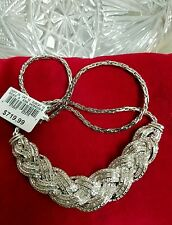 ⭐WOW! $719.99 NEW RHODIUM BRASS 1 CARAT PAVED GENUINE DIAMOND COCKTAIL NECKLACE