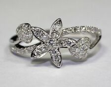14k White Gold Round White Diamond Flower And Leaf Shaped Ring .50ct Ring Size 7