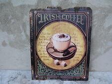 Vintage Holzbild Wandbild bild 50 cm x 40 cm Irish Coffie Küchen Deko