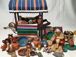 Lot Dollhouse Miniatures 4 Diorama Room Box Southwestern Peddler Cart & Goods