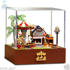 DIY Handcraft Miniature Project Kit Dolls House Merry Go Round Carousel Summer