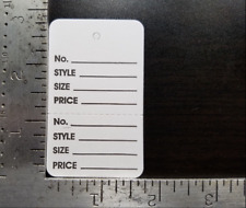 1000 White Garment Price Tags Perforated 2 Part Merchandise Coupon No String Lg