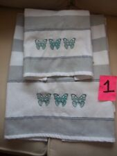 2pc TURKISH TOWEL COMPANY BATH & HAND BUTTERFLIES STRIPED 100% COTTON NEVER USED