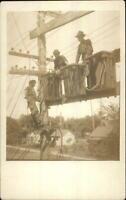 Linemen Telephone Pole Telegraph Line Workers Labor c1910 RPPC Postcard