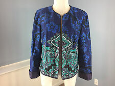 Coldwater Creek L 12 P Blue Purple Paisley Open Blazer Jacket Career Casual EUC!
