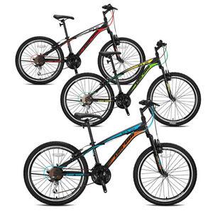 """Bici 24"""" MTB Geroni XCX 50 forcella ammortizzata cambio 21V Bicicletta Acciaio"""