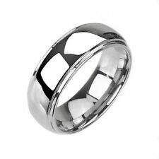 Tungsten Carbide Silver Dome Wedding Band Men Women Comfort Fit Ring 8mm