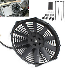 "12"" UNIVERSAL COOLING STRAIGHT  RADIATOR FAN KIT CAR PUSH PULL BLADE ELECTRIC UK"