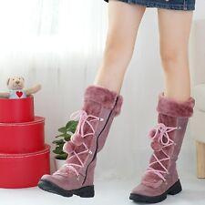 Winter Warm Women Faux Sude Fuzzy Snow Boot Lace Up Knee High Furry Boot Zipper