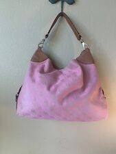 Dooney & Bourke extra large hobo pink  hobo bag canvas and leather