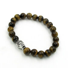 Tiger Eye Gemstone Alloy Metal Buddha Tibet Buddhist Prayer Beads Mala Bracelet