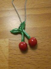 Collier pendentif sautoir Cerise rouge FAIT-MAIN UNIQUE POLYMÈRE FIMO