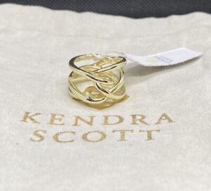 NWT Kendra Scott 14k Gold Plated Myles Band Stack Statement Ring Jewelry Sz 6