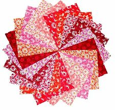 """40 5"""" Quilting Fabric Squares Wildfire/Shades of Coral to Reds 3 /Beautiful!"""