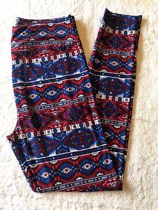 Lularoe TC Leggings Americana Aztec Pattern Red, White, Blue - NEW!!