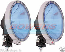 "PAIR OF SIM 12V/24V 9"" ROUND BLUE LENS NARROW PENCIL BEAM SPOTLIGHTS SPOTLAMPS"