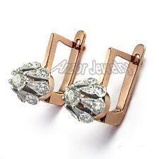 Russian Jewelry 14k Rose & White Gold Diamond Malinka Earrings Item #: E533