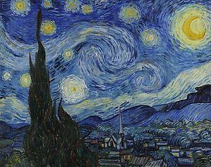 STARRY NIGHT 1889 Van Gogh Landscape Impressionism CANVAS ART PRINT 30x24 in.