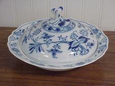 "German crossed swords mark Meissen ""Blue Onion"" Porcelain Covered Vegetable Bowl"