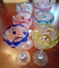 SET F 6 MULTICOLORED CUT TO CLEAR WINE GLASSES RHINE FRANCH CRYSTAL BEAUTIFUL