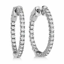 CERTIFIED 2.00ct ROUND-CUT D/VS1 DIAMONDS IN 14K GOLD HOOP EARRINGS