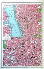 Vintage Antique Original 1920 Map Print Of Liverpool & Manchester City Plans