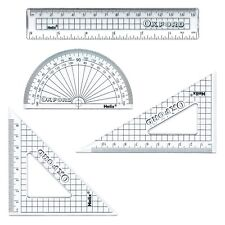 Helix Oxford 4 Piece Clear Geometry Set School Maths Ruler Protractor Set Square