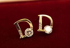 Women's/Girls 9ct Gold Plated 'D' Shaped Cubic Zirconia Stud Earrings