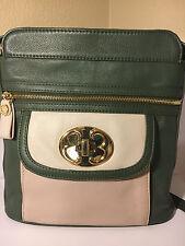 Emma Fox Green & Approx Beige Leather Shoulder Bag Purse Gold Tone Hardware