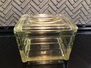 Vintage clear glass Glasbake covered refrigerator storage Dish yellow tint