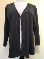 Chicos Sz 3 or XL Brown Open Front V-neck Beeded Long Sleeve Cardigan Sweater