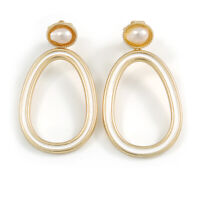 Gold Tone Oval Clip-On Earrings with White Enamel and Freshwater Pearl - 55mm