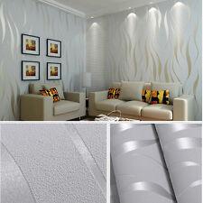 Fashion Decor Home Luxury 3D Wave Flocking Non-woven Wallpaper Silver Grey 10M