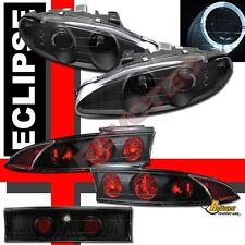 95 96 Mitsubishi Eclipse Halo Angel Eye Projector Headlights & Tail Lights Black