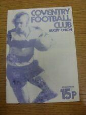 Programma di rugby 12/01/1980: COVENTRY V BRISTOL (Rusty GRAFFETTE). qualsiasi difetto