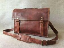 "Handmade Leather 15"" Padded Laptop Satchel Bag SL+ Vintage Billy Goat Designs"