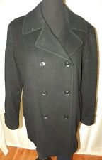 Black Wool Coat size XL 14 Lined Double Breasted Peacoat Levine Classics