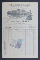 Facture A LA BELLE INDIENNE Paul LEBEL 1921 Lille old bill Rechnung fattura