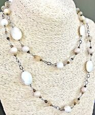 "SILPADA .925 Sterling Silver ""Romantic"" Mother of Pearl Quartz Necklace N1504"