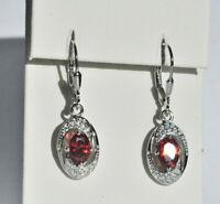 Echt 925 Sterling Silber Ohrringe Ohrhänger Zirkonia rot crystal Nr 209