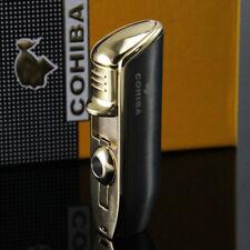 Cohiba Gunmetal Dark Gray Triple Jet Blue Flame Cigar Lighter Brand New