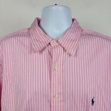 Ralph Lauren Classic Fit Pink White Striped Mens Dress Button Shirt 18 - 34/35