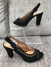 Clarks Softwear shoes uk 6.5 black laser cut occasion heels peep toe 6 1/2