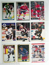 1990-2015'S LOT OF 9 HOCKEY CARDS + 1 PLASTIC SHEET FOR COLLECTORS ALBUM