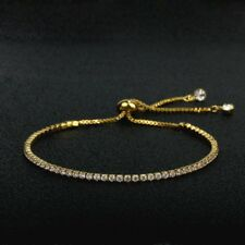 Sparkling Clear Cubic Zircon Gold Plated Adjustable Bracelet Friendship Jewelry